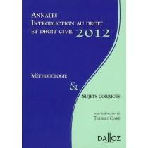 Annales introduction au droit et droit civil - Méthodologie et sujets corrigés (édition 2012)